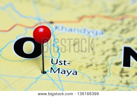 Ust-Maya pinned on a map of Russia