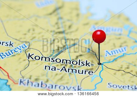 Komsomolsk-na-Amure pinned on a map of Russia