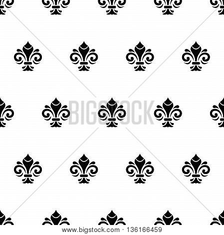 Seamless ornament. Modern geometric black and white pattern with royal lilies