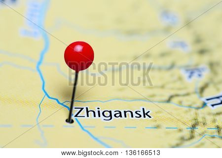 Zhigansk pinned on a map of Russia