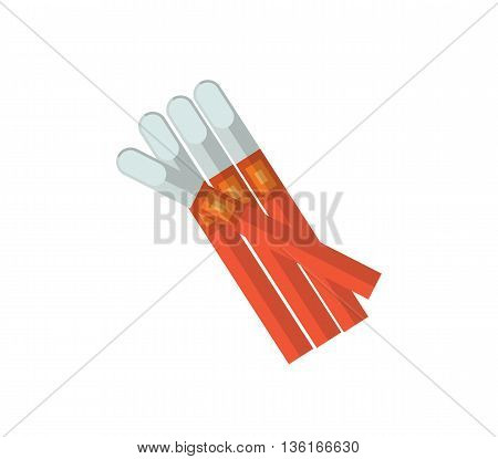 Cigarillos vector illustration. Tobacco smoke flat icon. nicotine cigarette isolated on white background. Cuban Cigarillos