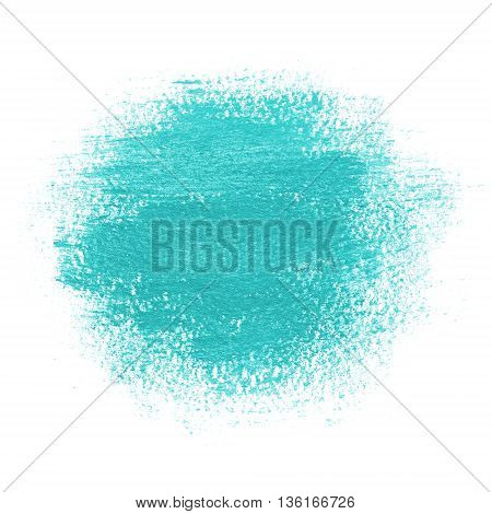 Round paint spot drawn with brush stroke. Bright turquoise blue color. Painting background with watercolor paper texture. Grunge edges.