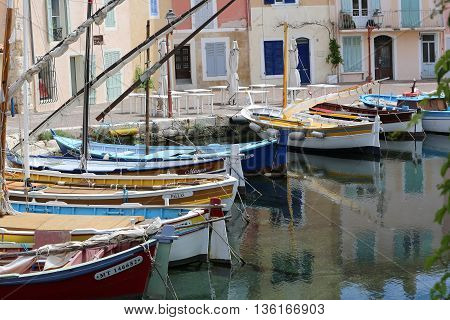 Martigues France - June 21 2016: The Old Harbor with Boats. Le Miroir Aux Oiseaux (Mirror Bird) Area