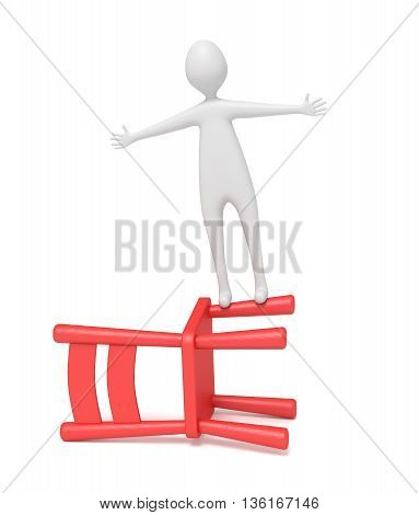 3d man balancing on a red wooden chair 3d illustration