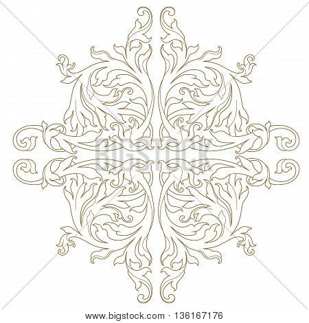 Golden vintage baroque frame scroll ornament, damask ornament, floral ornament decor ornament, scroll ornament,  golden ornament. Floral pattern, decor pattern, luxurious pattern, scroll pattern, vintage pattern. Vector.