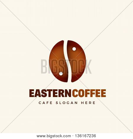 Eastern Coffee Abstract Vector Cafe Logo Template. Coffee Bean and Yin Yang Symbol Concept. Isolated.