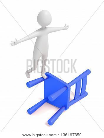 3d man balancing on a blue wooden chair 3d illustration
