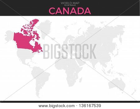 Canada location modern detailed vector map. All world countries without names. Vector template of beautiful flat grayscale map design with selected country and border location