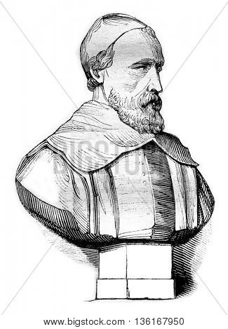 Bust of Peiresc by Francin, at the Museum of Modern Sculpture, vintage engraved illustration. Magasin Pittoresque 1836.