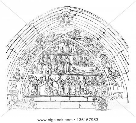 Reliefs of the door Bles of the Church of Our Lady of Semur, vintage engraved illustration. Magasin Pittoresque 1836.