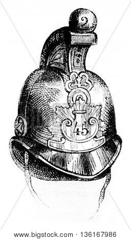 Leather Helmet, vintage engraved illustration. Magasin Pittoresque 1836.