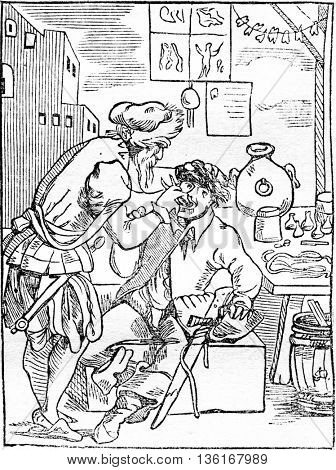 The tooth-puller, vintage engraved illustration. Magasin Pittoresque 1836.