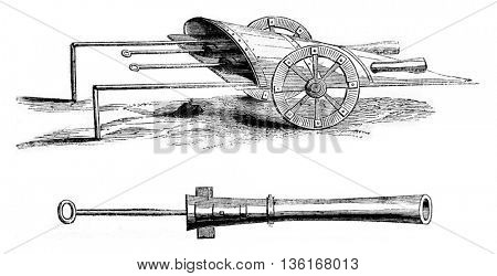 Ribaudeau an old fishing near Calais barrel in 1827, vintage engraved illustration. Magasin Pittoresque 1836.