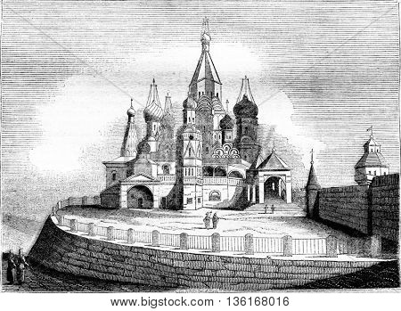 View of the church of Basile, near the Kremlin, Moscow, vintage engraved illustration. Magasin Pittoresque 1836.