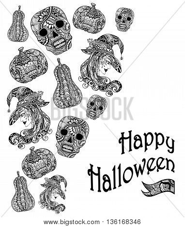 Halloween Set  with witch skill pumpkins black white  in Zen-tangle or Zen-doodle style for coloring page or relax coloring book or for decoration flyers banners Post Card on celebrating Halloween