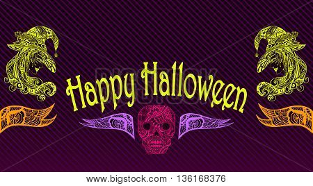 Template Halloween Flyer or banner  with witch skill in light green pink lilac orange on black in Zen-tangle or Zen-doodle style for celebrating Halloween holiday