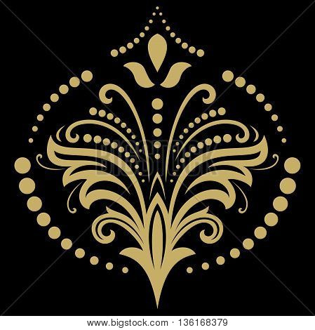 Floral yellow pattern with fine arabesques. Abstract oriental ornament