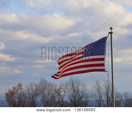 Flag for the United States over the Shenandoah Valley on the Blue Ridge