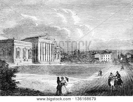 The Glyptothek, sculpture museum, in Munich, vintage engraved illustration. Magasin Pittoresque 1836.