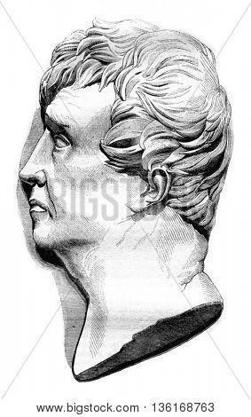 Portrait of Rouget de lIsle, after the medallion of David, vintage engraved illustration. Magasin Pittoresque 1836.