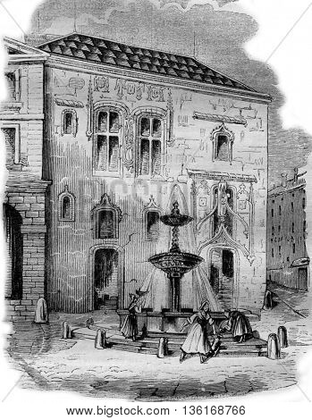 Royal audience of Mantes, vintage engraved illustration. Magasin Pittoresque 1836.