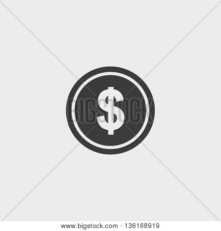Dollar Icon in a flat design in black color. Vector illustration eps10
