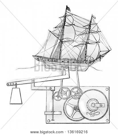 Automate ship, vintage engraved illustration. Magasin Pittoresque 1836.