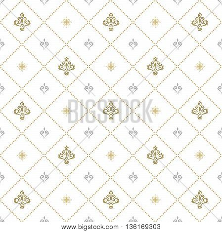 Seamless silver an golden ornament. Modern geometric pattern with royal lilies