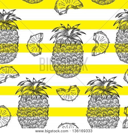 Pineapple pattern in engraving style. Monochrome texture with pineapple on yellow stripes. Perfectly look on fabric textile etc. Vector Illustration