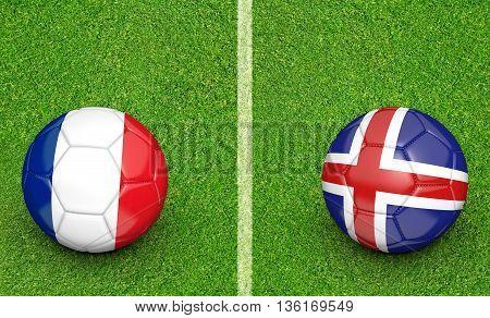 Team balls for France vs Iceland football tournament match, 3D rendering