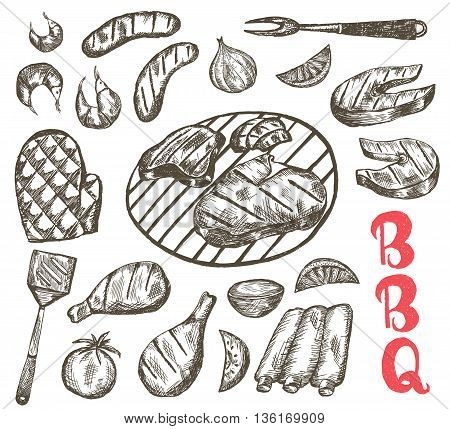 Grill Sketch food set. BBQ food is sausages ribs shrimp salmon steak vegetables chicken. Vector Illustration