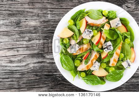 grilled chicken breast spinach apple slices gorgonzola cheese grapes salad on a white dish on an old wooden table view from above