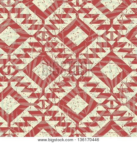 Tropical red tribal palm tree leaves seamless pattern .