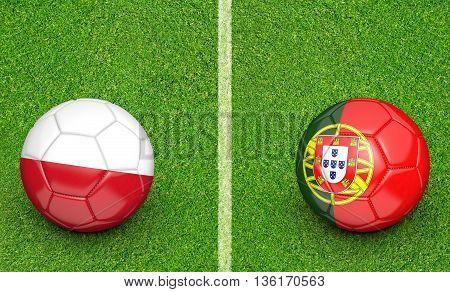 Team balls for Poland vs Portugal football tournament match, 3D rendering