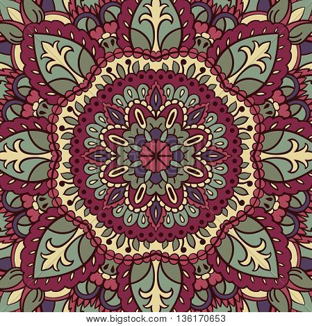 Vector vintage pattern. Template for carpet textile shawl. Backdrop with oriental ornament of mandalas.
