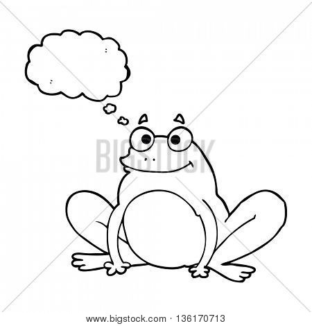 freehand drawn thought bubble cartoon happy frog