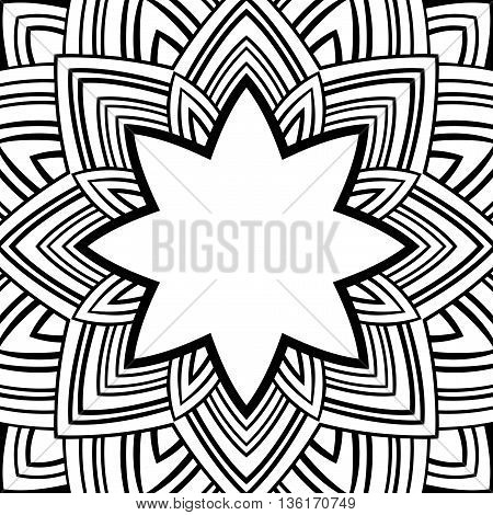Oriental black-white frame. Background with ornaments and place for text. Vector card. Vinyl cover CD DVD cover. Template for coloring book.