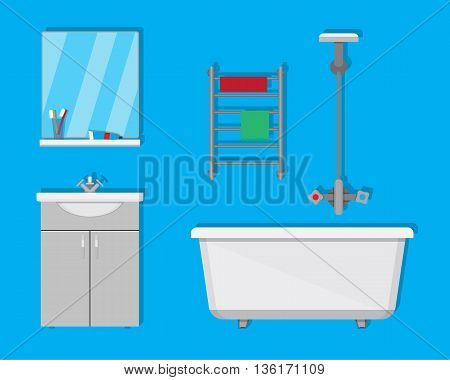 Bathroom with furniture. Washbowl with mirror, bathtub, towel dryer. vector illustration in flat style on blue background