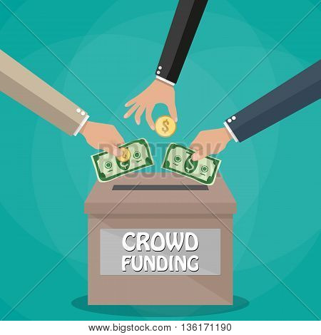 Hands giving cash dollars and coins money for new business project in red box. Crowdfunding concept. Vector illustration in flat style on green background.