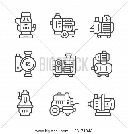 Set line icons of water pump isolated on white. Vector illustration