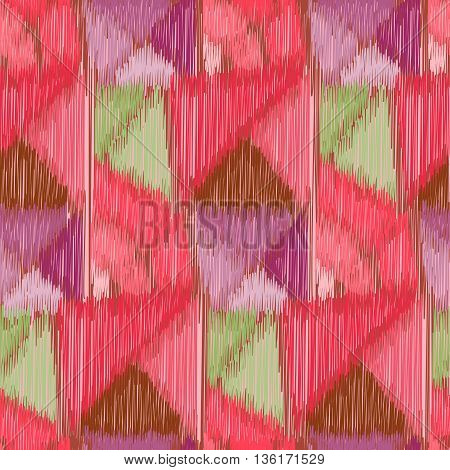 Seamless Ikat Pattern with geometrical drawing. Abstract background for textile design wallpaper surface textures pattern fills wrapping paper.