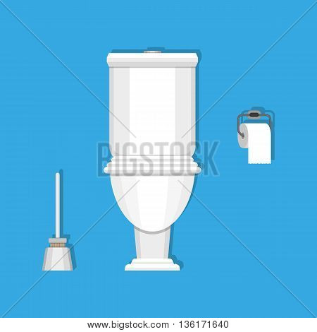 White ceramics toilet, toilet paper and toilet brush. modern toilet set in flat style. vector illustration on blue background