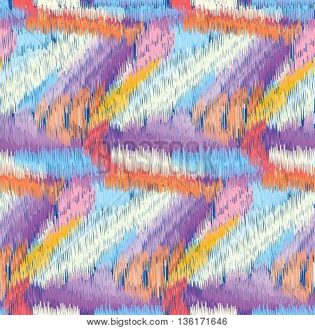 Bright seamless Ikat Pattern with wavy lines. Abstract background for textile design wallpaper surface textures pattern fills wrapping paper.
