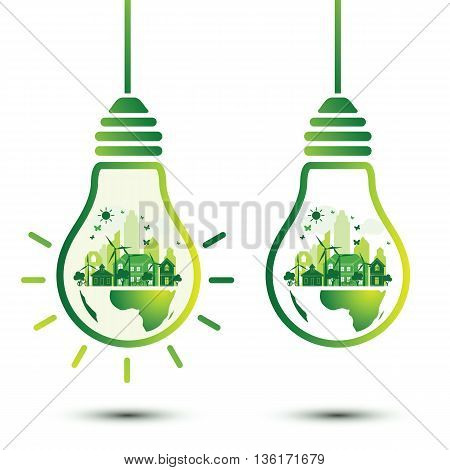 Green city and Eco Earth with light bulb eco concept vector illustration