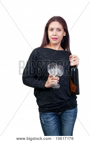 Latino Woman With Wine
