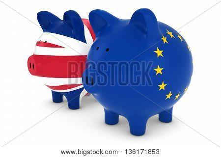Uk And Eu Flag Piggy Banks 3D Illustration