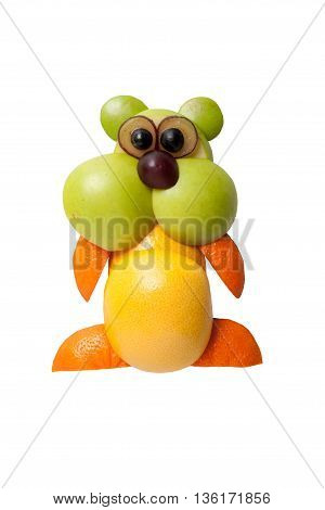 Funny hamster made of juicy fruits on isolated background