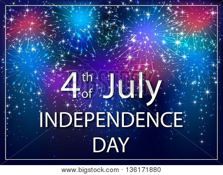 USA Independence day background, 4th of july, colorful starry fireworks on dark sky, illustration.