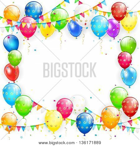 Frame of flying colorful balloons, multicolored pennants and confetti on white background, illustration.