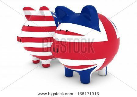 British And American Flag Piggy Banks 3D Illustration